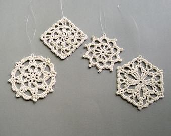 4 Crochet Christmas Ornaments -- Natural Beige Medallions -- Assortment LM1