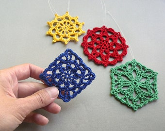 4 Crochet Christmas Ornaments -- Bright Colored Medallions -- Assortment LM2