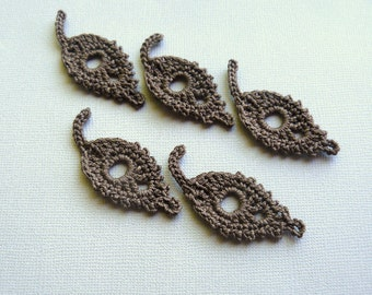 5 Crochet Leaf Appliques -- Chocolate Brown Willow Leaves