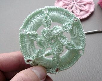 Crochet Christmas Ornament -- Mint Green Leafy Medallion