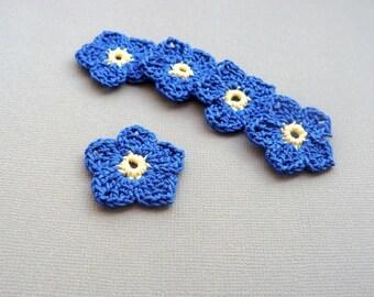 5 Crochet Flower Appliques -- 1-1/2 inch Flax Flowers, in Cobalt Blue