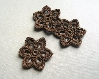 3 Crochet Flower Appliques -- 2 inch Diameter, in Chocolate Brown