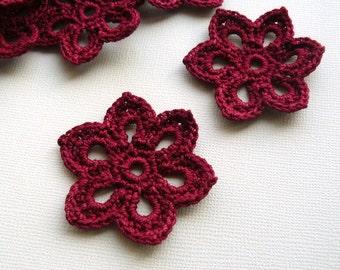 5 Crochet Flower Appliques -- 2 inch Diameter, in Burgundy