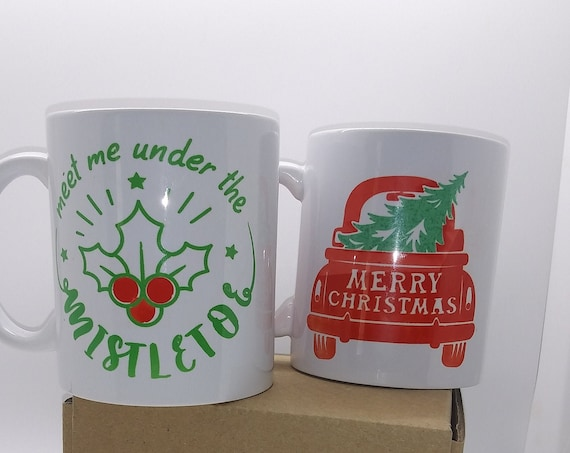 Christmas Coffee Cup, Red Truck, Designer Mug, Ceramic Cup, Meet me under the mistletoe, Sassy Quote