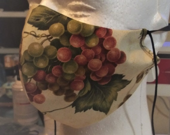 Face Mask, Grapes,  Double sided, Dust Face Mask,Cotton Fashion, Washable,  3 sizes