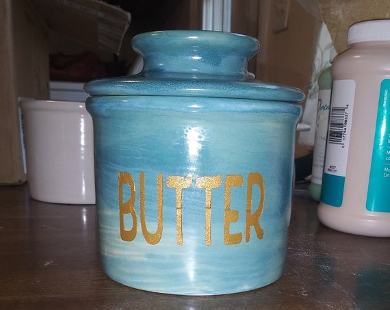 Butter Dish, French Butter Keep design,  Ceramic Pottery, Ocean Blues/ gold colored letters