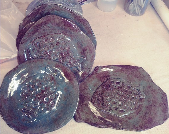 Plate, Set of 5, stoneware Pottery, Rustic Slab Built, Fish design