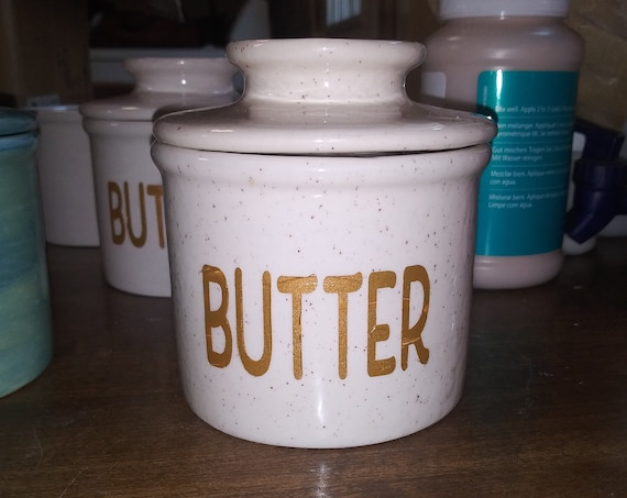 Butter Dish, French Butter Keep design,  Ceramic Pottery, Speckled Crème / gold colored letters