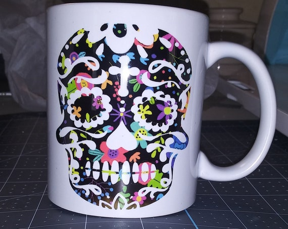 Sugar Skull Coffee Cup, Red Truck, Designer Mug, Ceramic Cup,