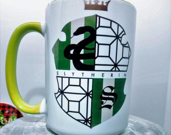Hogwarts Slytherin Shield , Ceramic Cup, 15 ounce