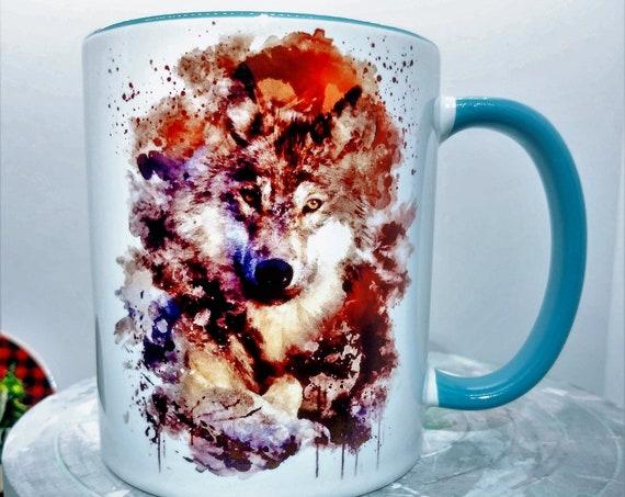 Wolf  Mug, Ceramic Cup, 11 ounce