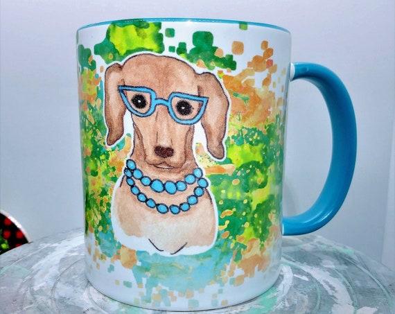 Designer Dog Mug, Ceramic Cup, 11 ounce