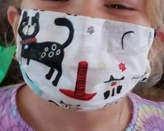Face Mask, Double sided, Dust Face Mask, Cotton Fashion, Washable, Reversible, cats, Child size pleated