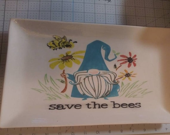 Platter, Ceramic Pottery, save the bees