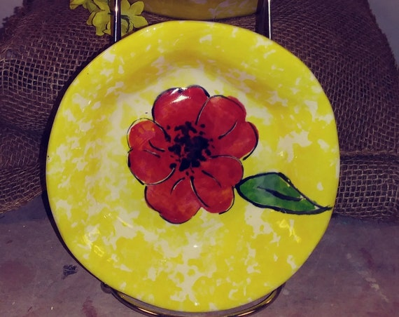 Stack bowls, small bowls, salad bowls, set of 4, hand painted poppies