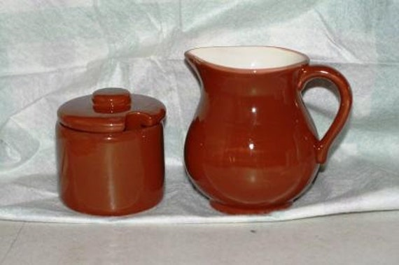 Family size Creamer and Sugar Bowl Set, Ceramic Pottery