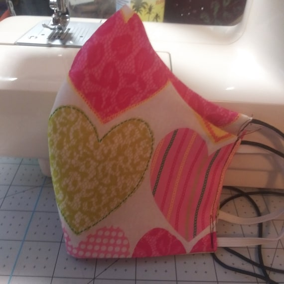 Face Mask, 3 sizes available,  Double sided, Dust Face Mask, Cotton Fashion, Washable, Reversible, hearts