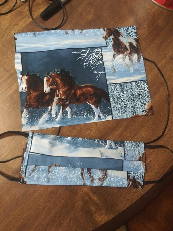Face Mask,  Double sided, Dust Face Mask, Cotton Fashion Wild Horses, Reversible, Washable, 3 sizes PLEATED