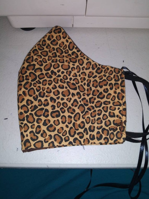 Face Mask, Adult, Double sided, Dust Face Mask,Cotton Fashion, Washable, reversible. Leopard and BROWN  prints