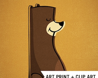 B is for Bear Retro Vintage INSTANT DOWNLOAD clip art Print