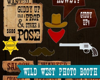 Instant Download - Wild Wild West Photobooth set Printable