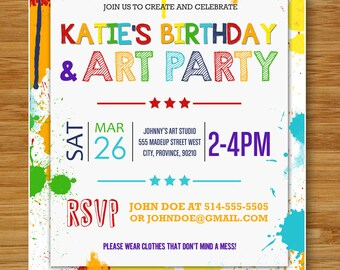 Custom Printable ART PARTY Invitations using your info