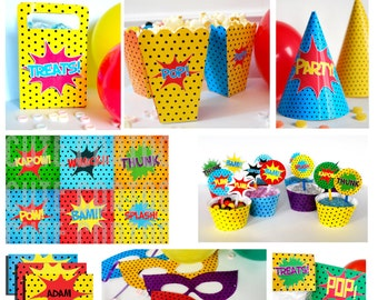 Superhero BIG Party Pack - Instant Download - Printable DIY Everything you need for your party! Editable