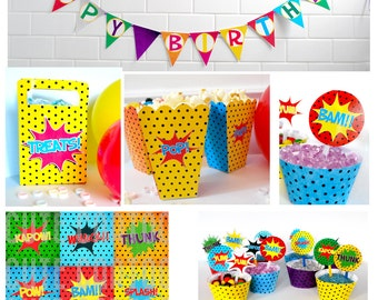 Superhero Mini Party Pack - INSTANT DOWNLOAD