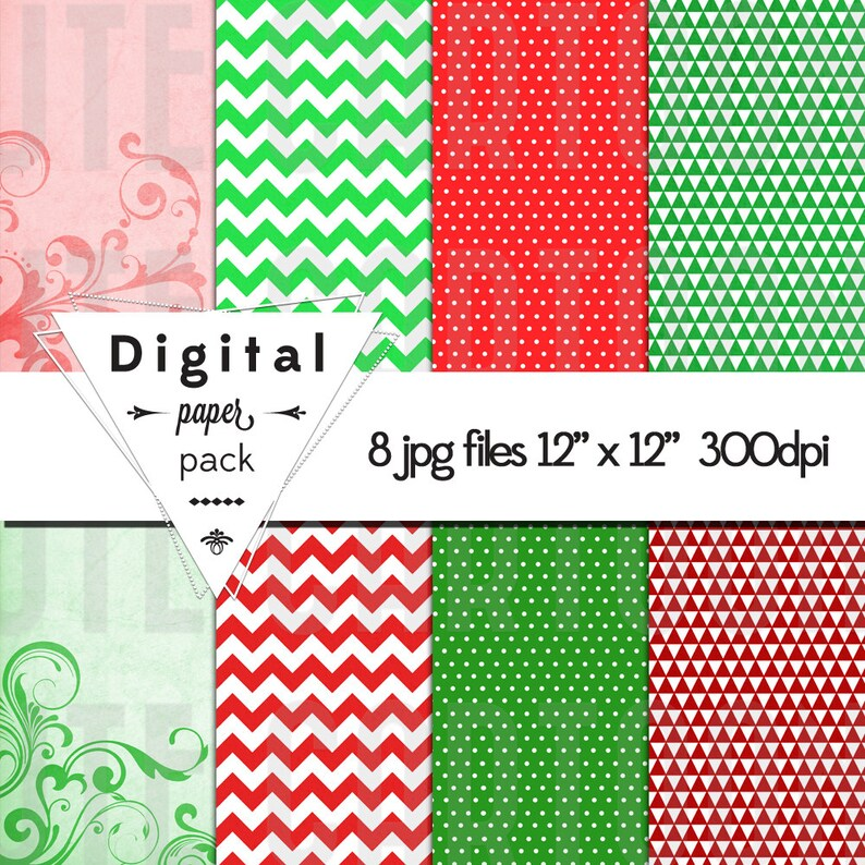 Christmas Holiday Paper Pack Instant Download Set of 8 image 0