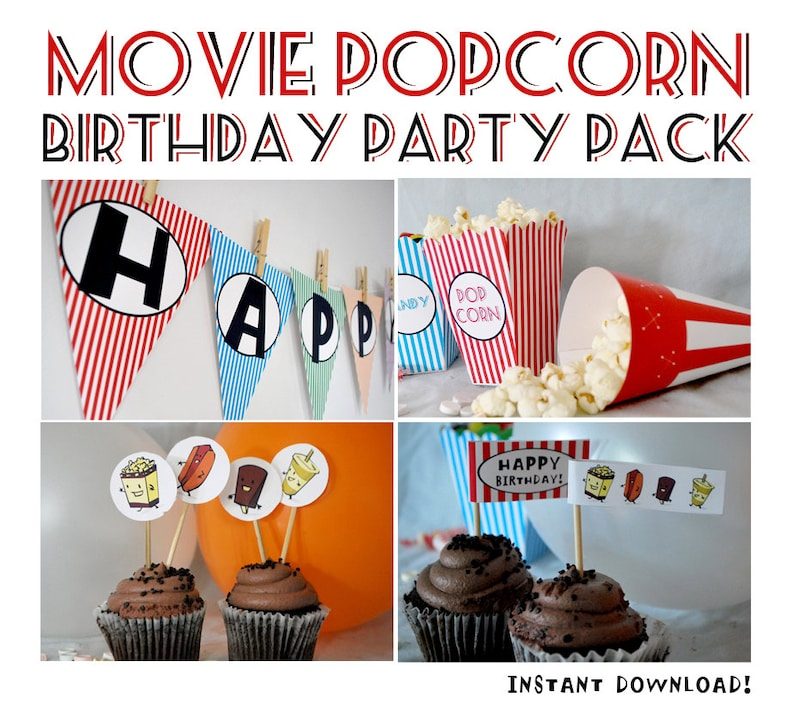Movie Theater Popcorn Birthday Party Pack INSTANT DOWNLOAD image 0