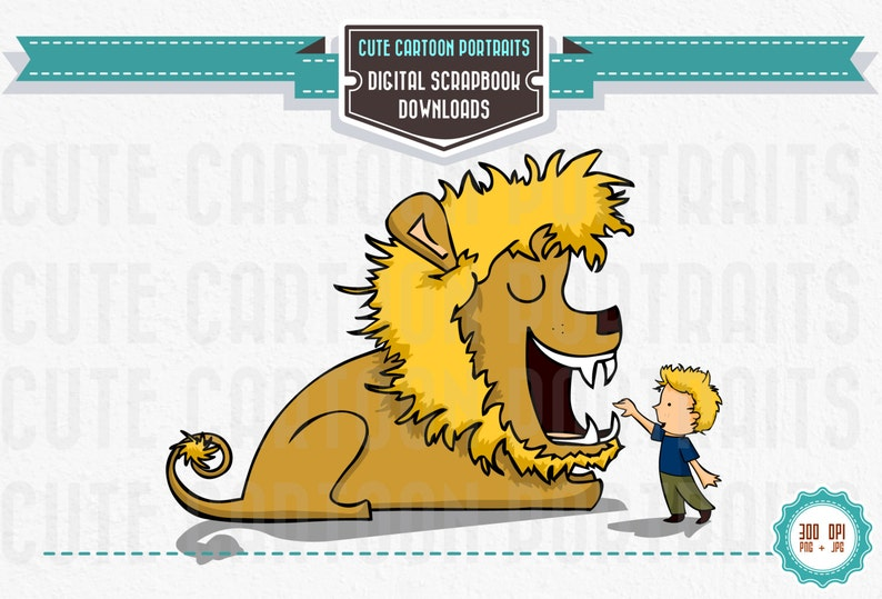 Instant Download  Lion and Boy  Clip Art Collage Sheet image 0