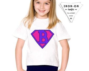 Instant Download Girl Superhero Iron-On Transfer Alphabet Lettering Super Hero Costume DIY Printable