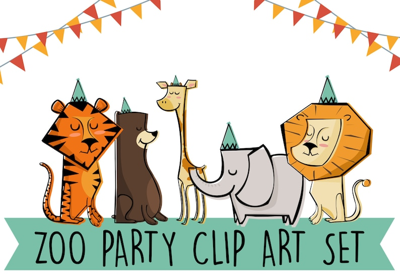 Printable ZOO Animals Clip Art Set Print at home Edit yourself image 0