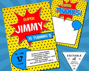 Instant Download EDITABLE Superhero Invitations and Thank You Cards printable Party Favors Supplies DIY Super Hero