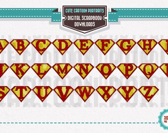 Instant Download Glitter Gold Superhero Alphabet Letters ClipArt Clip Art Super Hero Party Supply