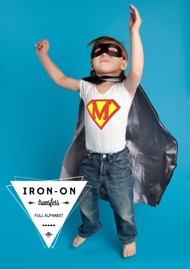 Instant Download Superhero Iron-On Transfer Alphabet Lettering image 0