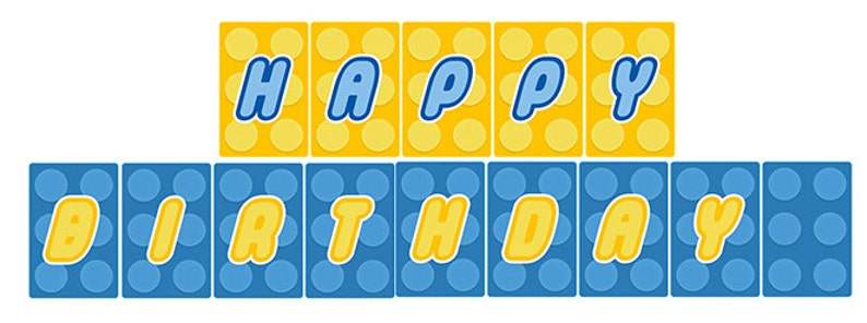 Instant Download Lego Happy Birthday Banner Print it yourself image 0