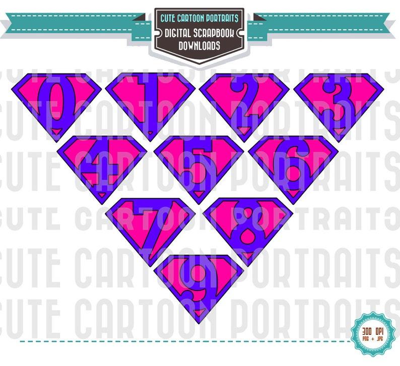 Instant Download Superhero NUMBERS Purple ClipArt Clip Art image 0