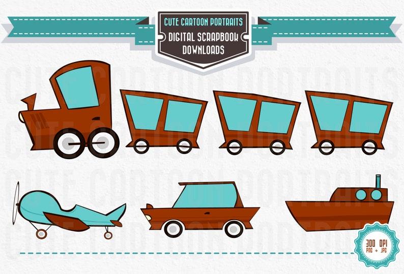 Instant Download  Retro Transportation Set  Clip Art Collage image 0