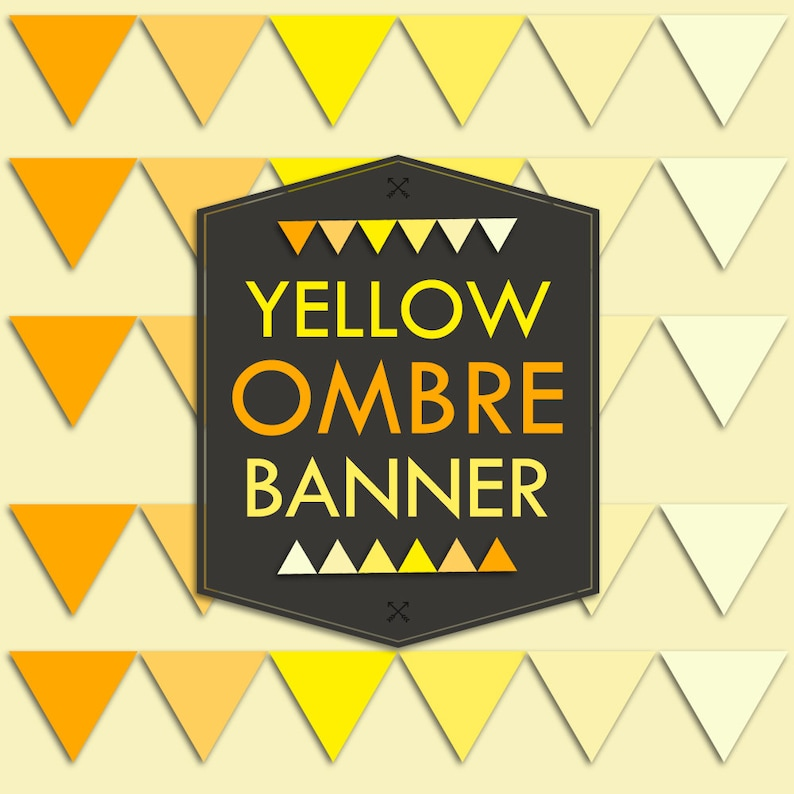 Instant Download Yellow Ombre Banner Flag Garland Printable image 0