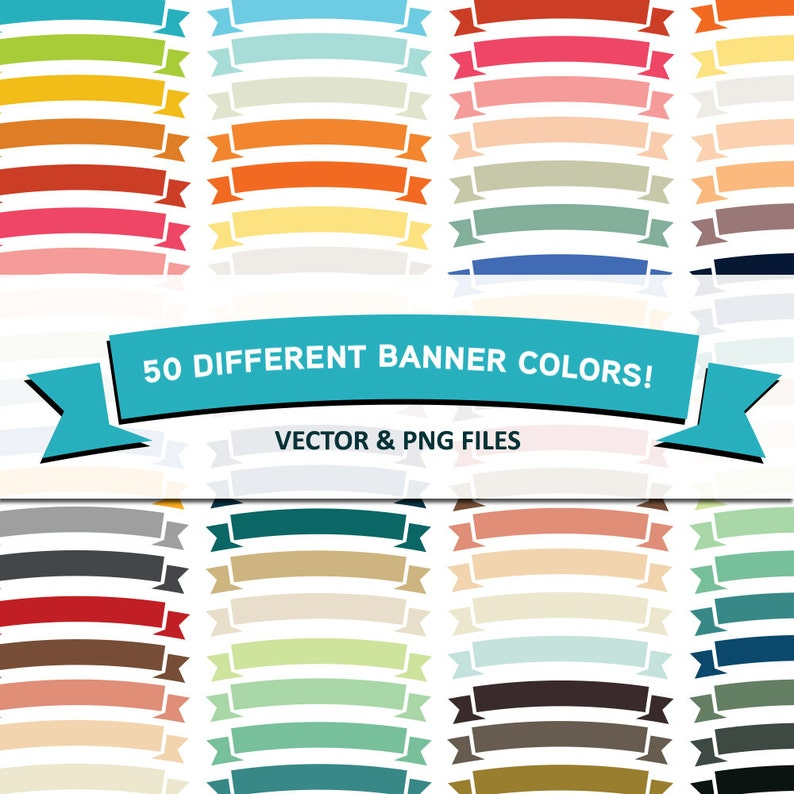 Instant Download  50 Different Ribbons Banner Colors Vector image 0