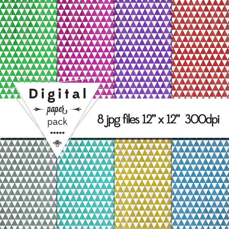 Triangle Tron Techno Geometric  Paper Pack 8 Printable Digital image 0