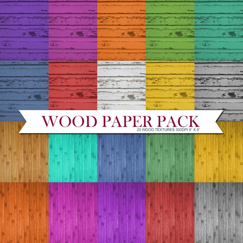 Wood Paper Pack Instant Download Set of 20 Scrapbooking Papers image 0