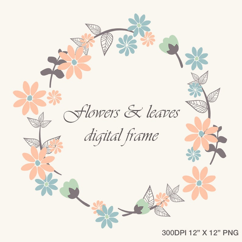 Instant Download Flowers and Leaves Frame Border Clip Art image 0