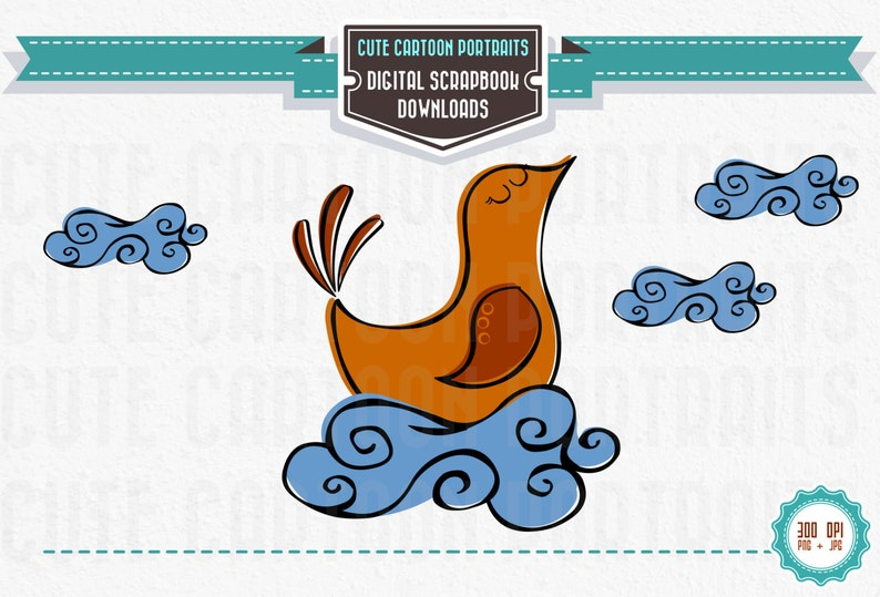 Instant Download  Retro Chicken Bird on a cloud Cute Clip image 0