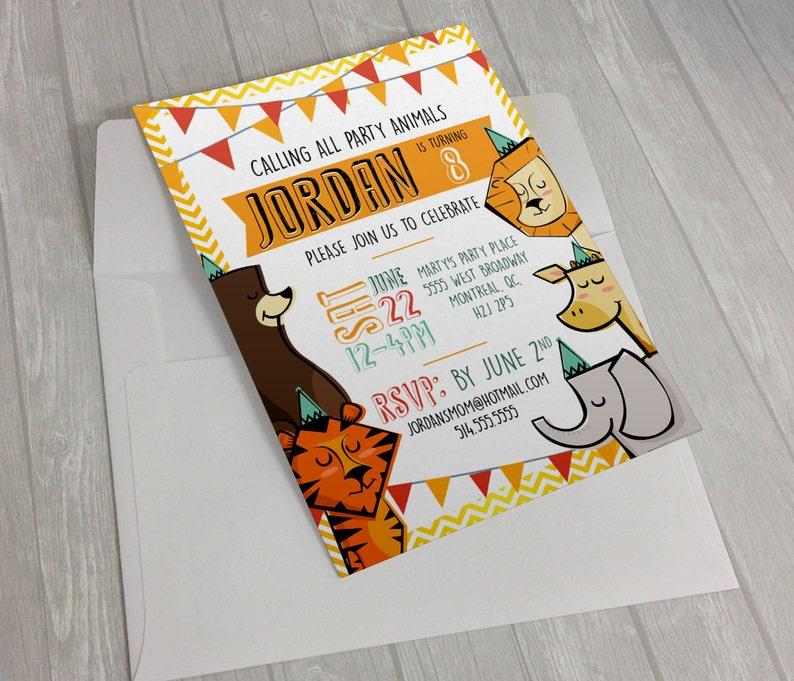 Custom Printable ZOO Animals Invitations using your info image 0