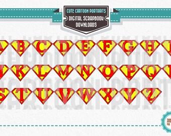 Instant Download Superhero Alphabet Letters ClipArt Clip Art Super Hero Party Supply