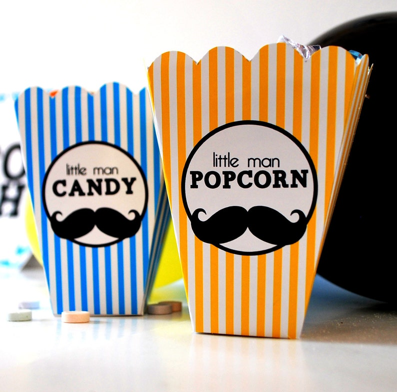 Instant Download Popcorn and Candy Little Mister Moustache image 0