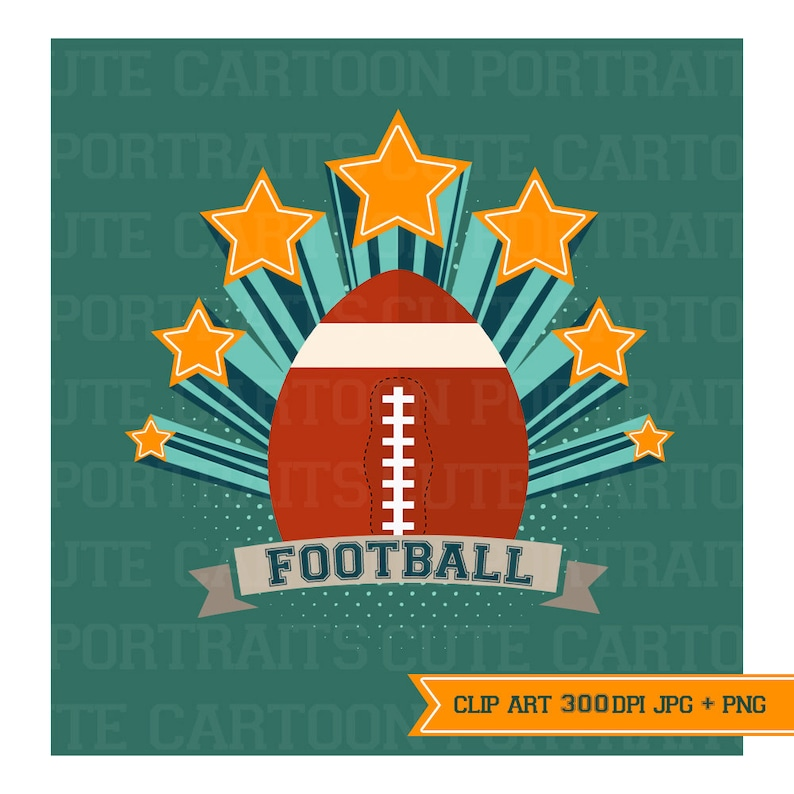 Instant Download  Football  Digital Clip Art Collage Sheet image 0