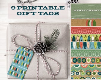 Instant Download Printable Christmas Gift Tags Retro Modern